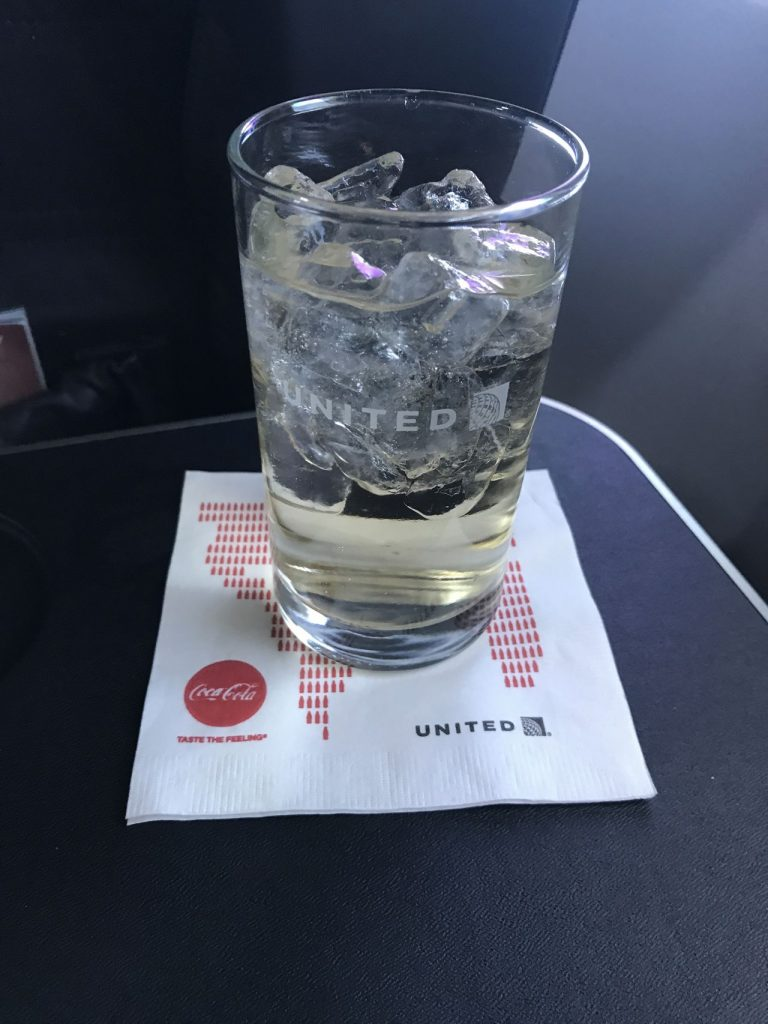 United Airlines Fleet Boeing 737-800 First Class:Business Class:United First Inflight Amenities Drink Services Ginger Ale