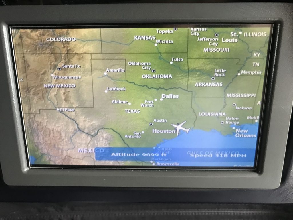 United Airlines Fleet Boeing 737-800 First Class:Business Class:United First Inflight Amenities TV screen airshow map channel