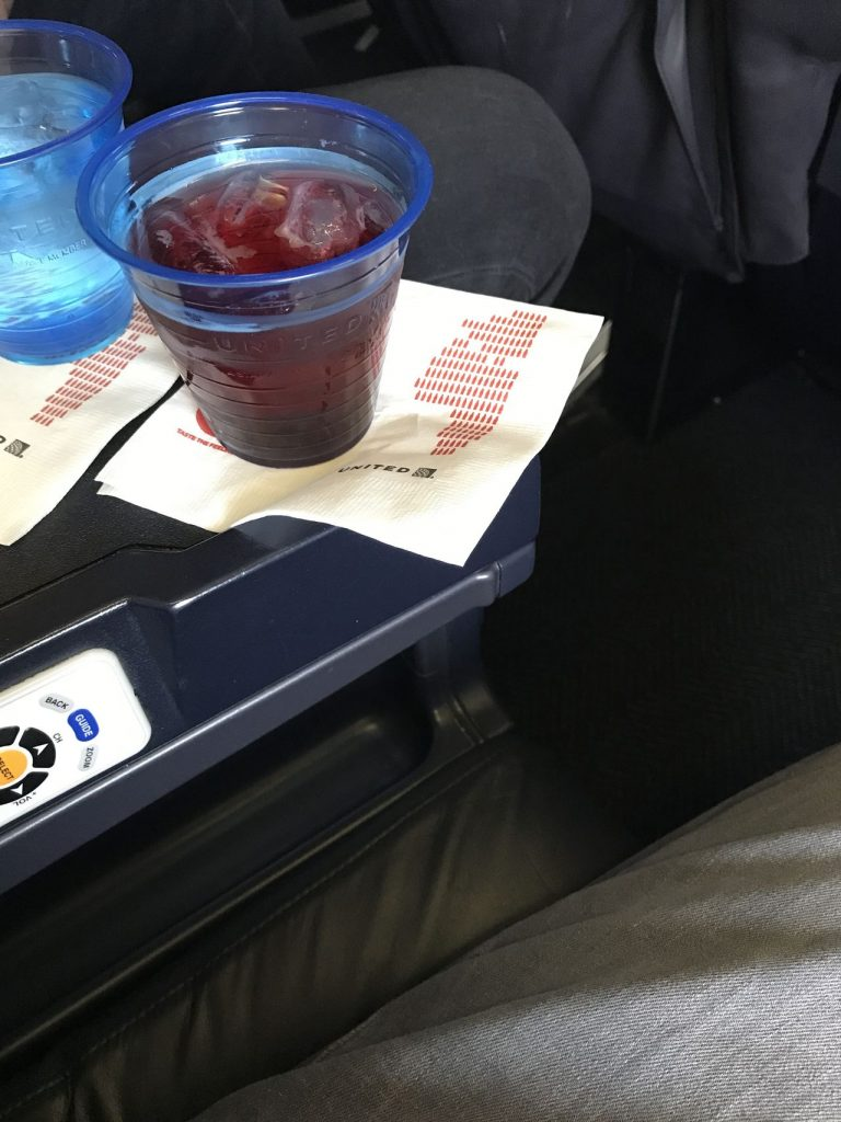 United Airlines Fleet Boeing 737-800 First Class:Business Class:United First Pre-Departure Drink Service Cranberry Juice