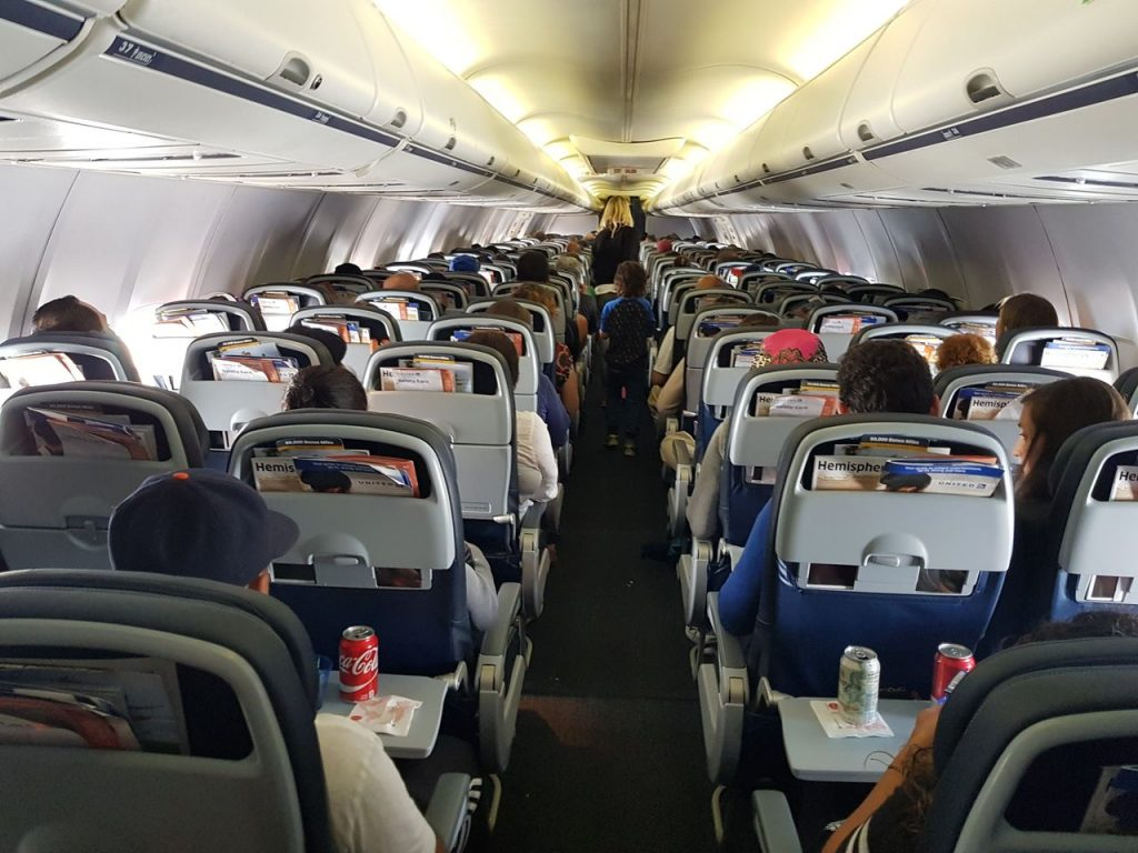 United Airlines Fleet Boeing 737-800 Main Cabin Economy Class Inflight Cabin Interior View