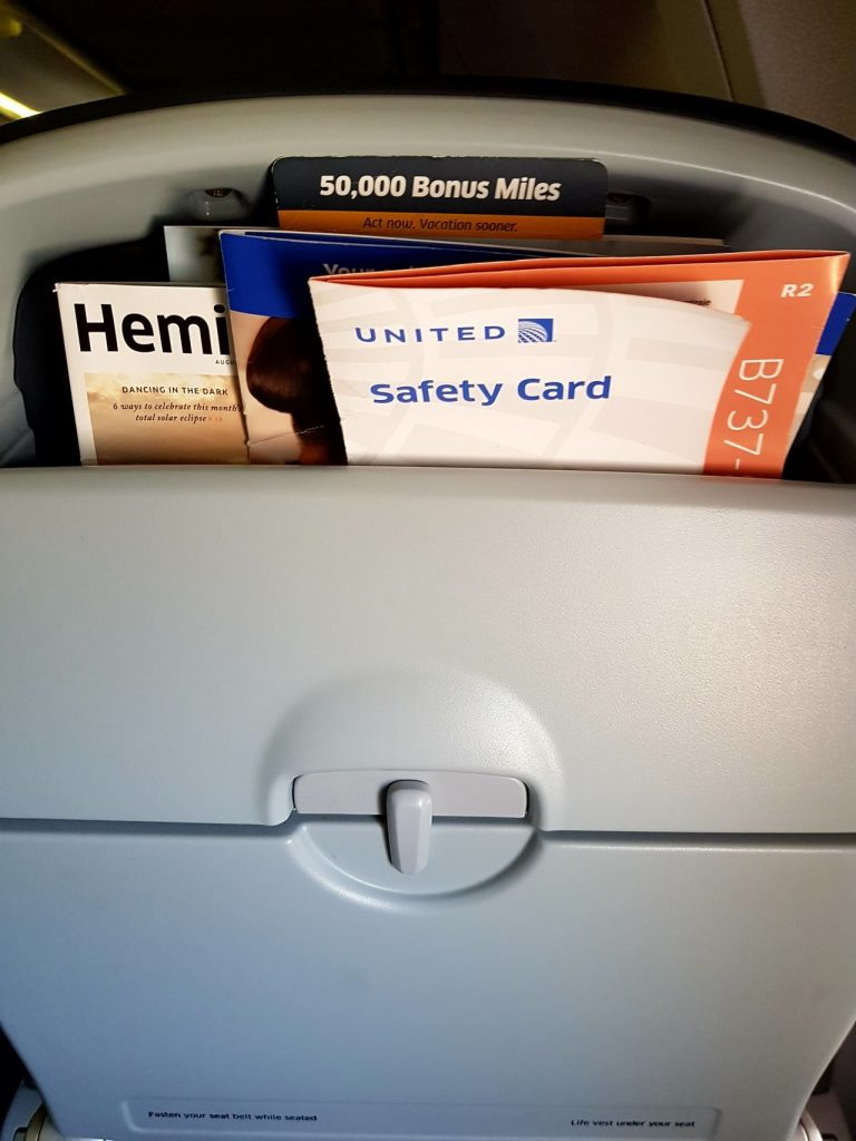 United Airlines Fleet Boeing 737-800 Main Cabin Economy Class Seats Pocket Paper and Magazine