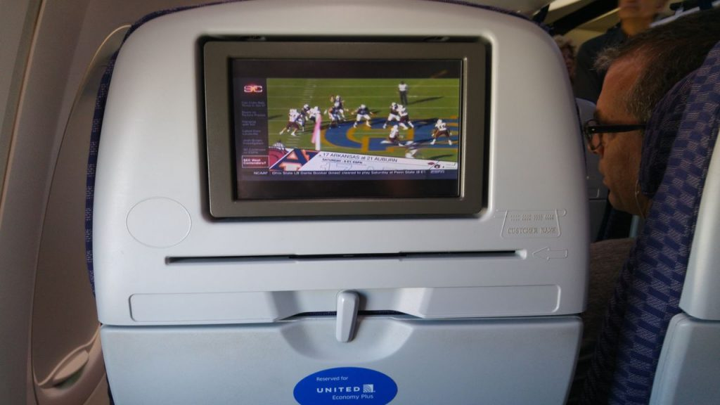 United Airlines Fleet Boeing 737-800 Premium Eco:Economy Plus Back Seats DirectTV Panels
