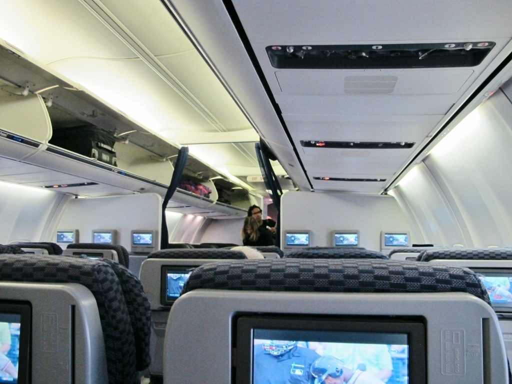 United Airlines Fleet Boeing 737-800 Premium Eco:Economy Plus Cabin Interior Overhead Panels Seats Row and IFE System
