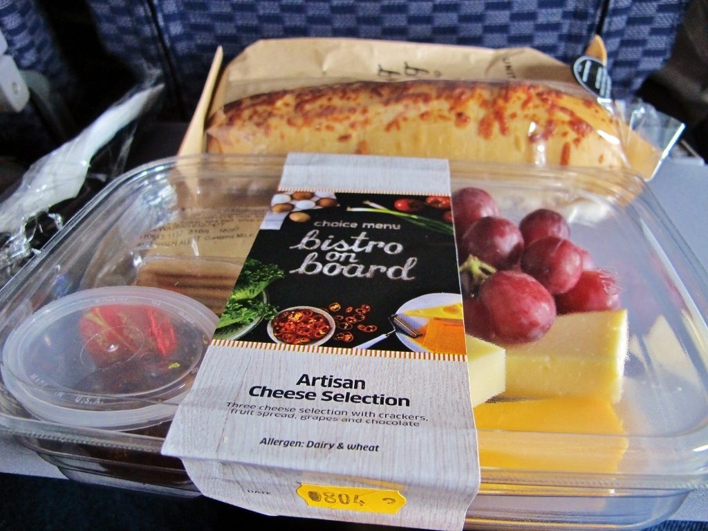 United Airlines Fleet Boeing 737-800 Premium Eco:Economy Plus Inflight Amenities BoB Buy On Board Meal:Food Artisan Cheese selection