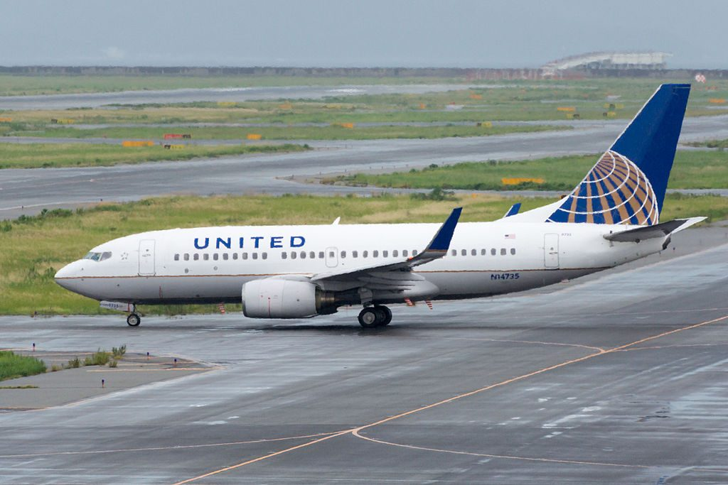 United Airlines Fleet N14735 (ex Continental Airlines) Boeing 737-724 cn:serial number- 28950:376 Departed to Guam Osaka Kansai Int'l Airport