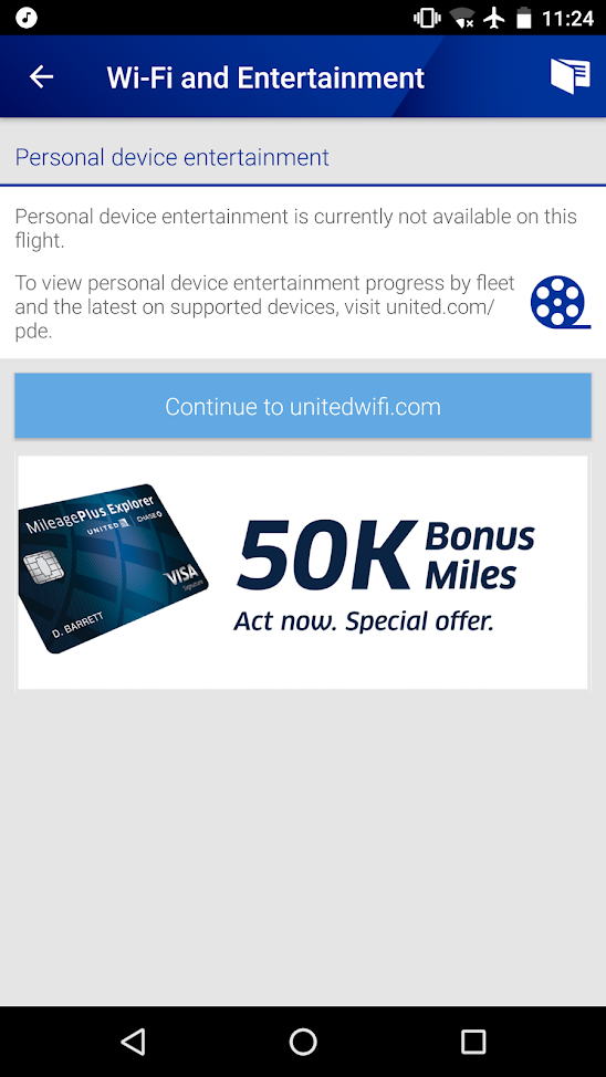 united airlines aircraft fleet boeing 737-900er economy class cabin inflight amenities internet:WiFi and entertainment services