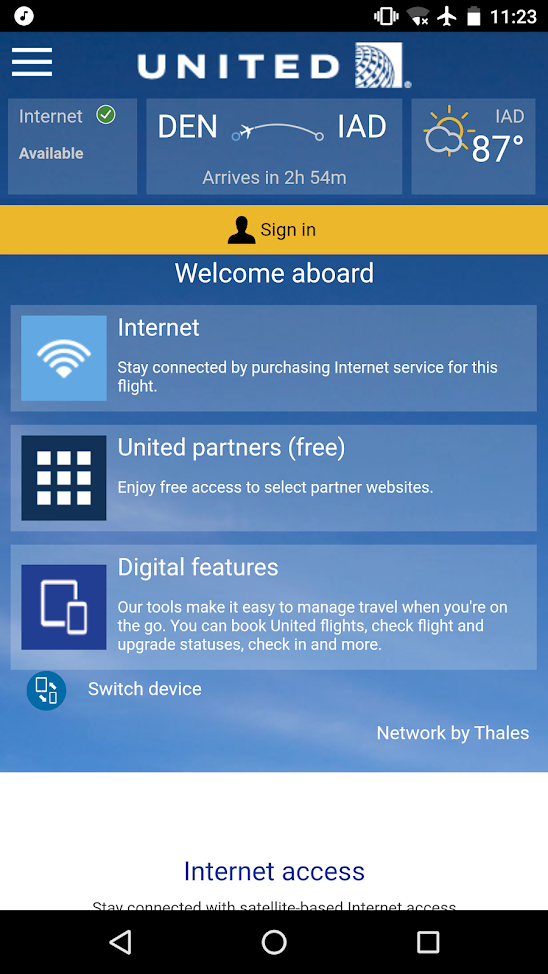 united airlines aircraft fleet boeing 737-900er economy class cabin inflight amenities internet:WiFi services