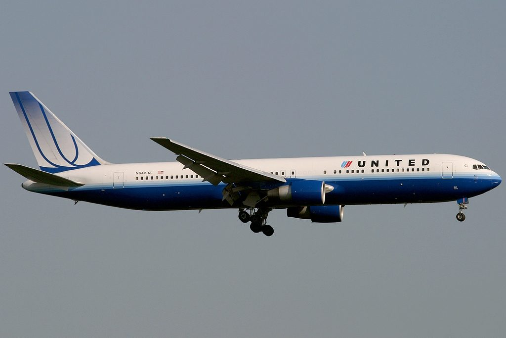 Boeing 767 322ER United Airlines Aicraft Fleet Registration N642UA short final before landing at Frankfurt am Main Rhein Main AB FRA FRF EDDF Germany
