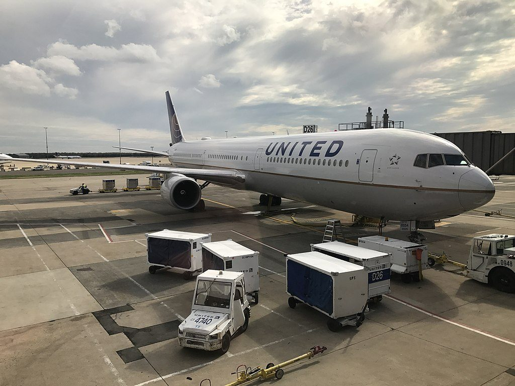 Boeing 767 424ER cnserial number 29449816 United Airlines Widebody Fleet N76054 ex Continental parked at Washington Dulles