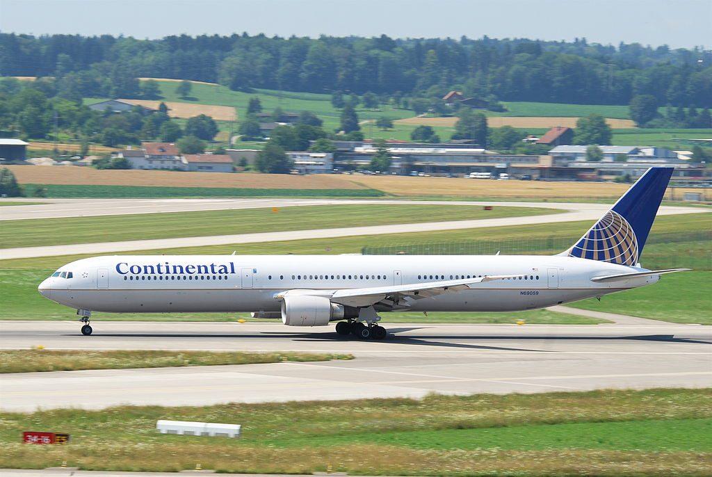 Boeing 767 424ER cnserial number 29454864 United Airlines Widebody Fleet N69059 ex Continental at Zurich Airport Kloten