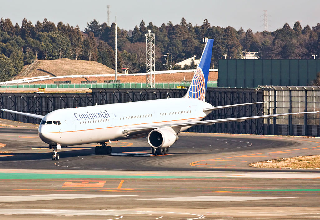 Boeing 767 424ER cnserial number 29458872 United Airlines Widebody Fleet N69063 ex Continental taxiing at Narita International Airport IATA NRT ICAO RJAA