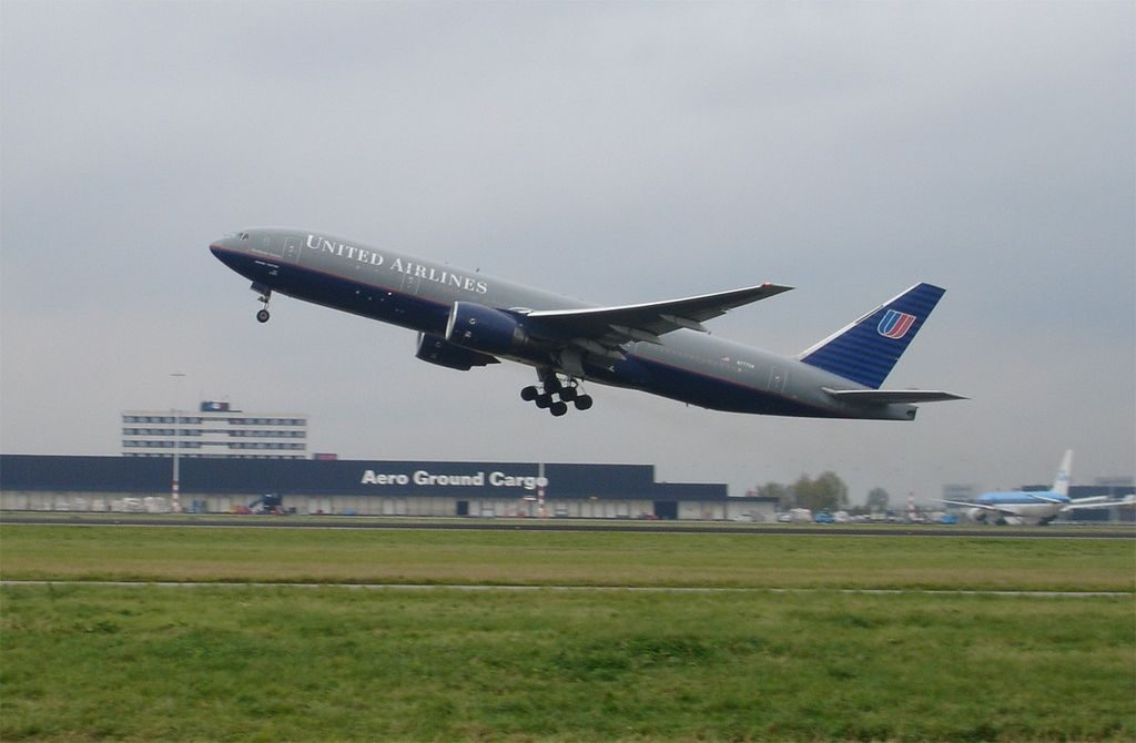 Boeing 777 222 cnserial number 269167 United Airlines fleet N777UA on old battleship grey livery taking off at Schiphol Airport