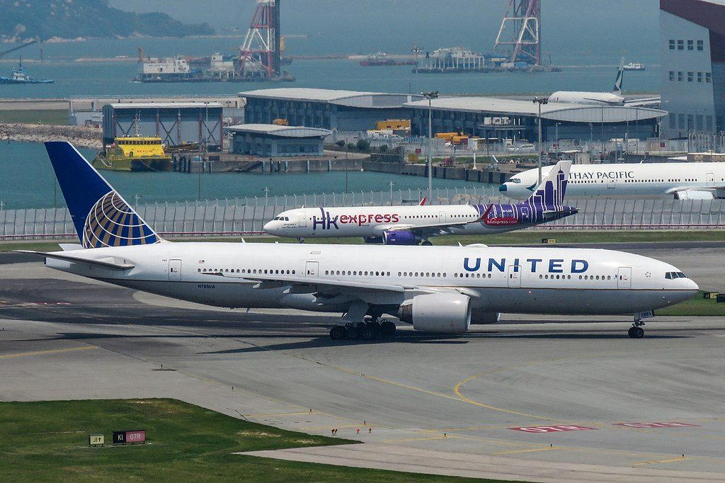 Boeing 777 222ER cnserial number 2695473 United Airlines Fleet N785UA ready to takeoff at Hong Kong International Airport IATA HKG ICAO VHHH Chek Lap Kok