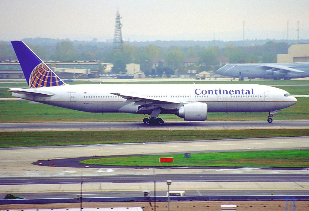 Continental Airlines United Boeing 777 224ER N78003 taxiing at Frankfurt Airport IATA FRA ICAO EDDF Germany