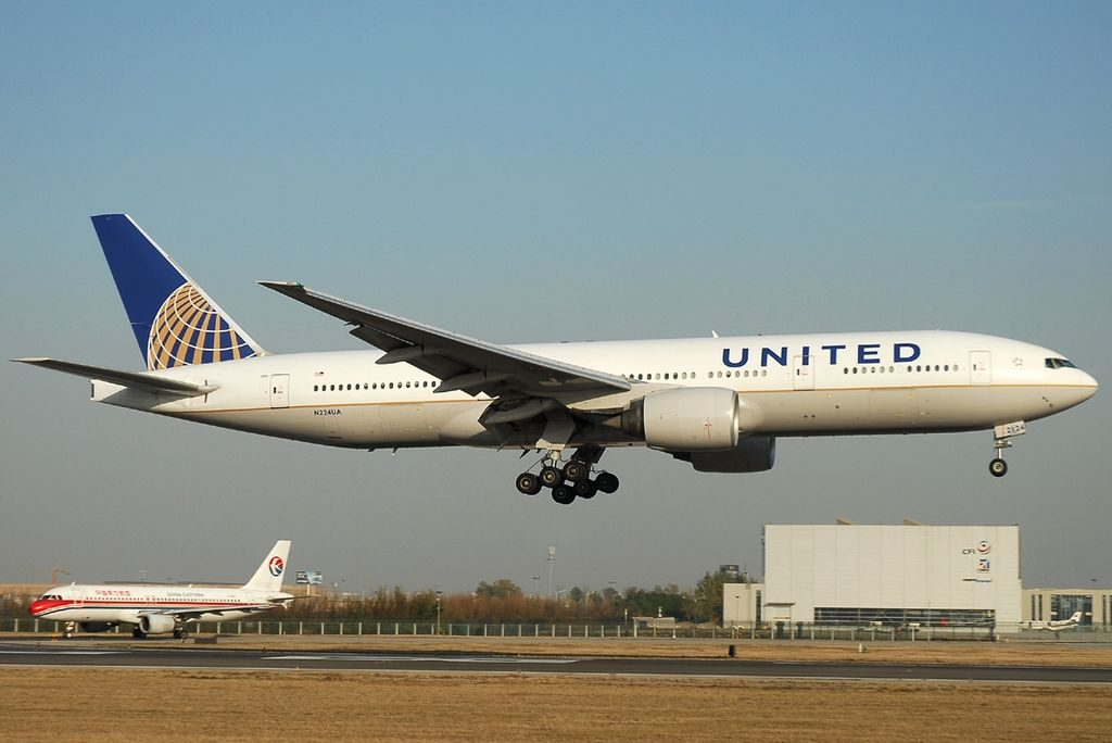N224UA United Airlines Fleet Boeing 777 222ER cnserial number 30225375 landing at Beijing Capital PEK ZBAA China