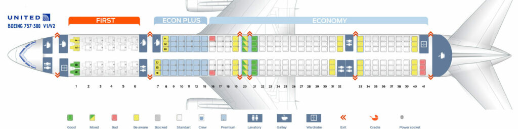 Seat Map and Seating Chart Boeing 757 300 United Airlines