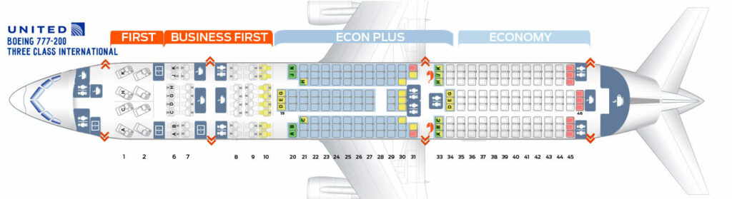 Seat Map and Seating Chart Boeing 777 200 ER V1 Three Class International United Airlines