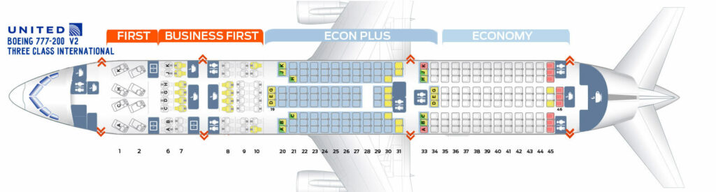 Seat Map and Seating Chart Boeing 777 200 ER V2 Three Class International United Airlines