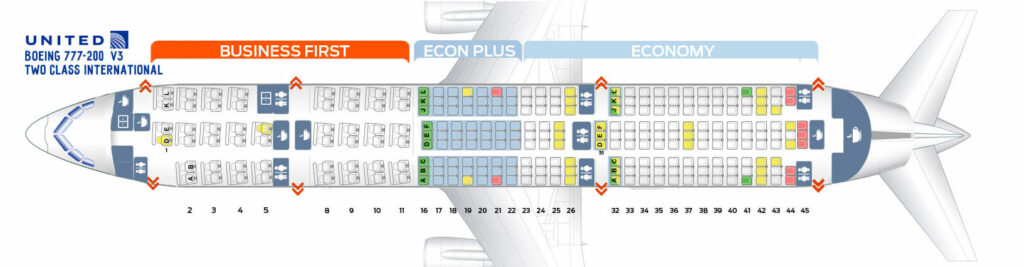 Seat Map and Seating Chart Boeing 777 200 ER V3 Two Class International United Airlines