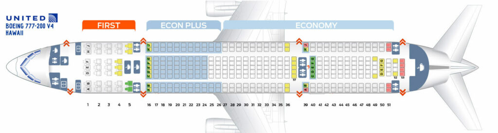 Seat Map and Seating Chart Boeing 777 200 ER V4 Hawaii United Airlines