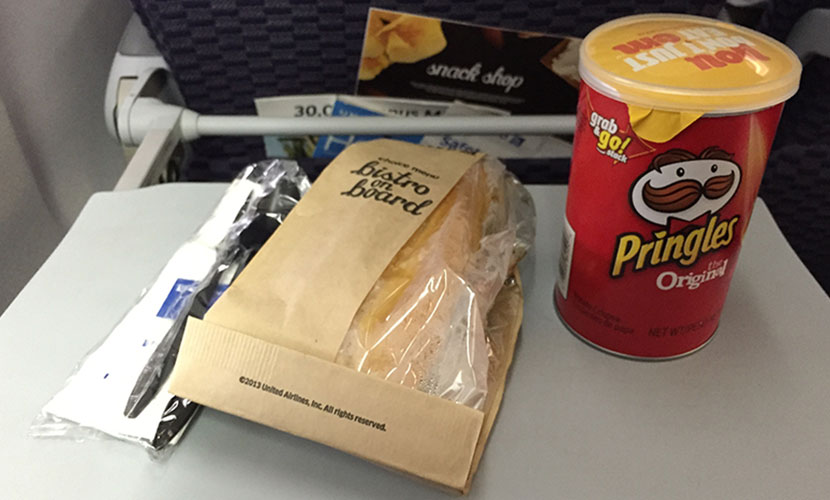 United Airlines Aircraft Fleet Boeing 757-200 Economy Plus : Premium Economy Cabin Inflight Amenities buy on board hot meal (a sliced-sirloin sandwich)