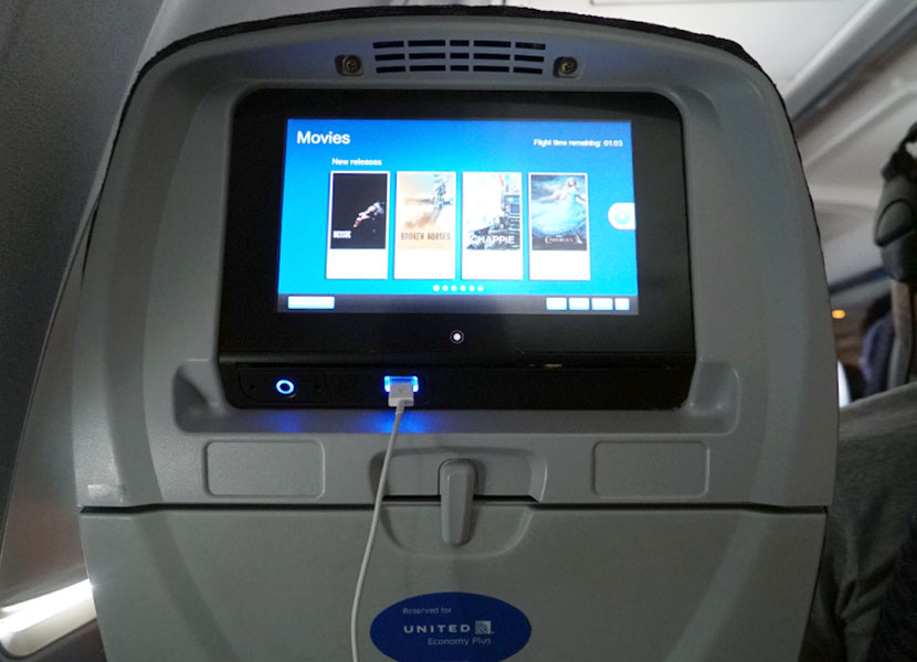 United Airlines Aircraft Fleet Boeing 757-200 Economy Plus : Premium Economy Cabin seat came with a seatback touchscreen for on-demand in-flight entertainment.