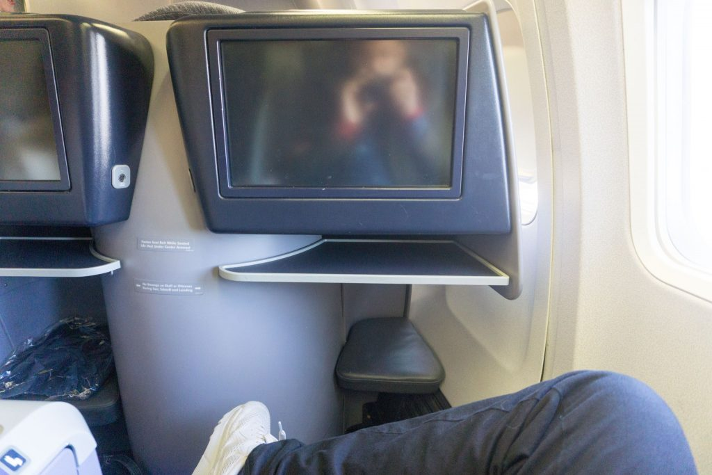 United Airlines Aircraft Fleet Boeing 757-200 Polaris Business:First Class Cabin in-flight entertainment screen was sizable and had over 90 TV shows and over 60 movies
