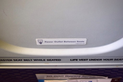 United Airlines Aircraft Fleet Boeing 767 300ER Economy Class Cabin Power Outlet Between Seats