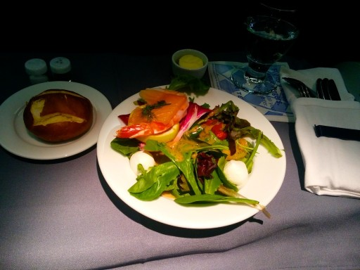 United Airlines Aircraft Fleet Boeing 767 300ER Polaris FirstBusiness Class Cabin Inflight Amenities Dinner meal salmon appetizer and salad menu