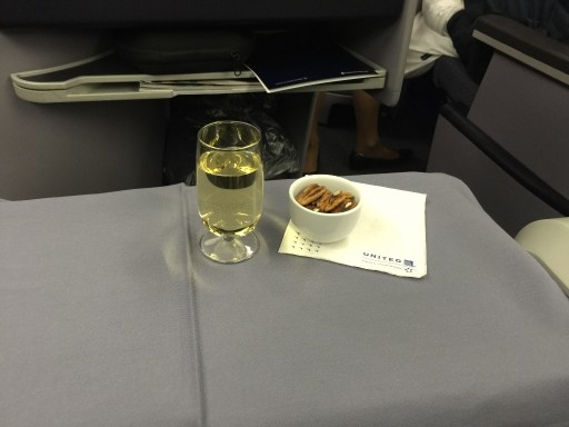 United Airlines Aircraft Fleet Boeing 767 300ER Polaris FirstBusiness Class Cabin Inflight Amenities White Wine and Warm Nuts
