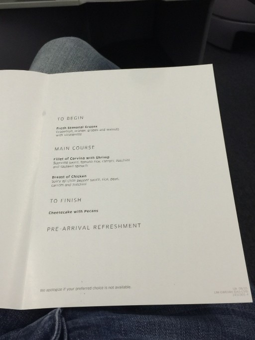 United Airlines Aircraft Fleet Boeing 767 300ER Polaris FirstBusiness Class Cabin MealFood Services Menu Photos