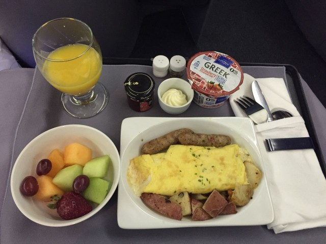 United Airlines Aircraft Fleet Boeing 777 200 BusinessFirst Class Cabin Breakfast Menu Services