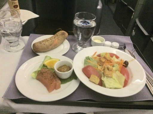 United Airlines Aircraft Fleet Boeing 777 200 Pre Merger BusinessFirst Class Cabin Meal Food services salmon appetizer and salad