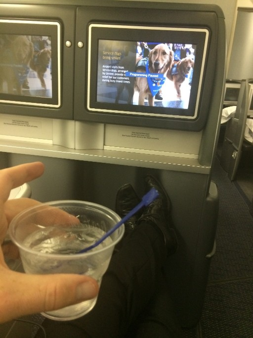 United Airlines Aircraft Fleet Boeing 777 200 Pre Merger BusinessFirst Class Cabin Pre Departure Drinks Service vodka