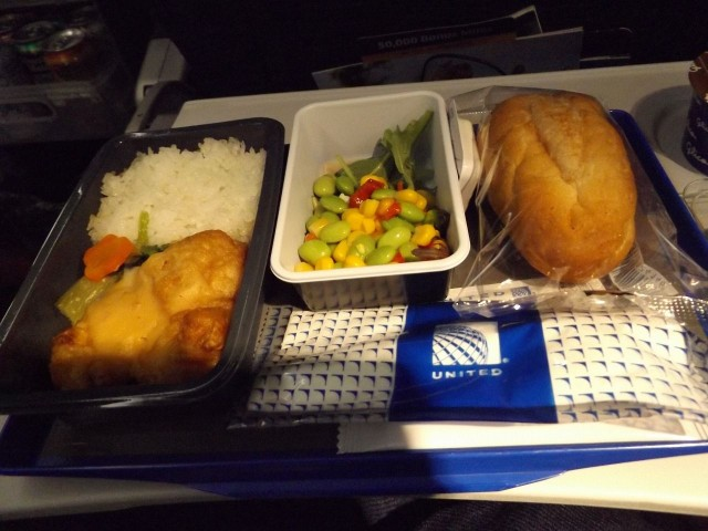 United Airlines Aircraft Fleet Boeing 777 200ER Economy Class Cabin inflight amenities meals services menu karaage Japanese fried chicken