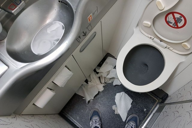 United Airlines Aircraft Fleet Boeing 777 200ER Economy Class Cabin inflight toilet bathroom lavatory photos