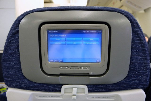 United Airlines Aircraft Fleet Boeing 777 200ER Economy Class Cabin touchable old generation IFE