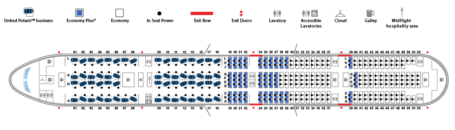United Airlines Aircraft Fleet Boeing 777 300ER 77W Seat map 60306 configuration