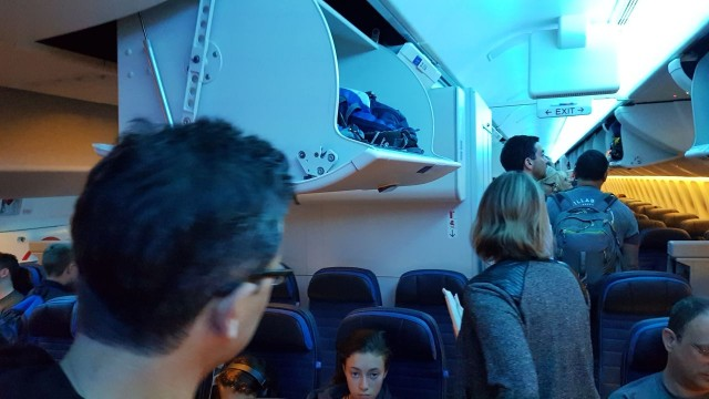 United Airlines Aircraft Fleet Boeing 777 300ER Economy Class Cabin View When Passenger Boarding