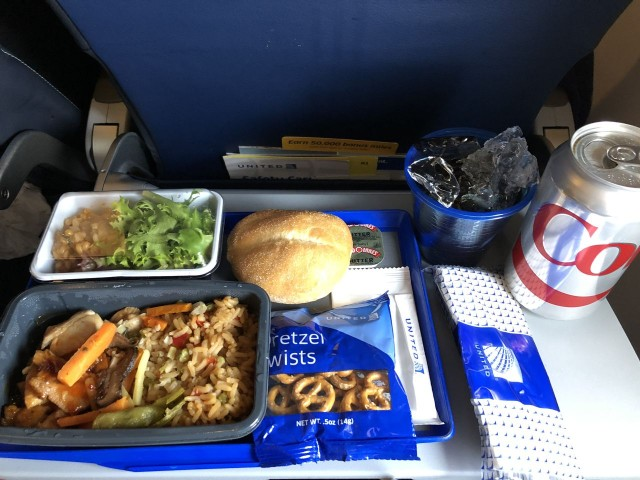 United Airlines Aircraft Fleet Boeing 777 300ER Economy Plus Premium Eco Cabin Inflight Amenities MealFood Lunch Services chicken and fried rice menu
