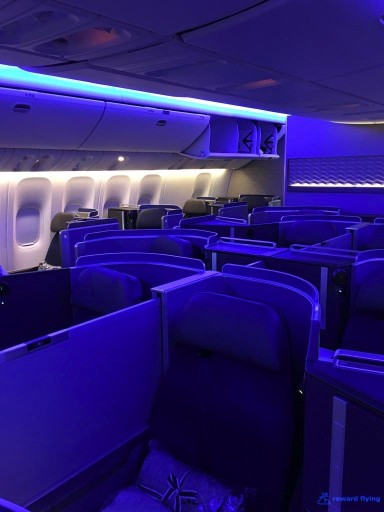 United Airlines Aircraft Fleet Boeing 777 300ER Polaris Business Class Cabin Interior View With Blue Mood Lightning @rewardflying