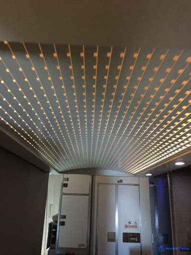 United Airlines Aircraft Fleet Boeing 777 300ER Polaris Business Class cabin ceiling above a lavatory entrance @rewardflying