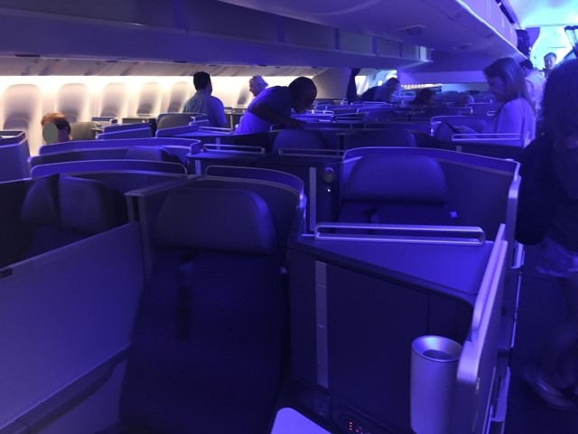 United Airlines Aircraft Fleet Boeing 777 300ER Polaris First Class Cabin couples seat with the partition raised