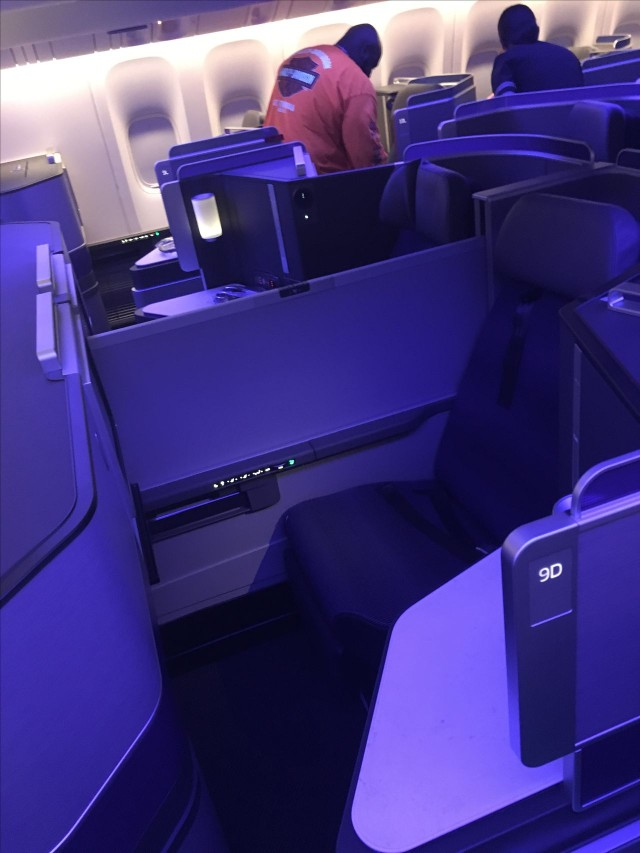 United Airlines Aircraft Fleet Boeing 777 300ER Polaris First Class Cabin middle seats with the partition raised