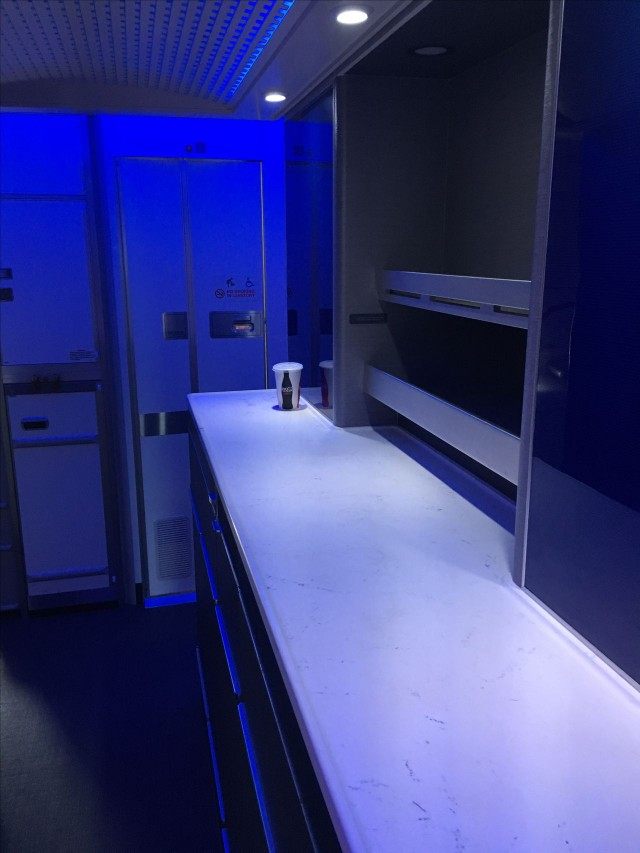 United Airlines Aircraft Fleet Boeing 777 300ER Polaris First Class Cabin snackbar area right in the entrance