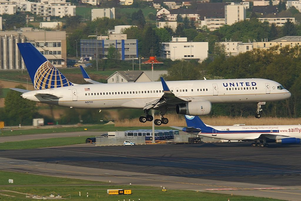 United Airlines Aircraft Fleet N57111 Boeing 757-224 cn:serial number- 27301:652 landing at Zurich Airport also known as Kloten Airport
