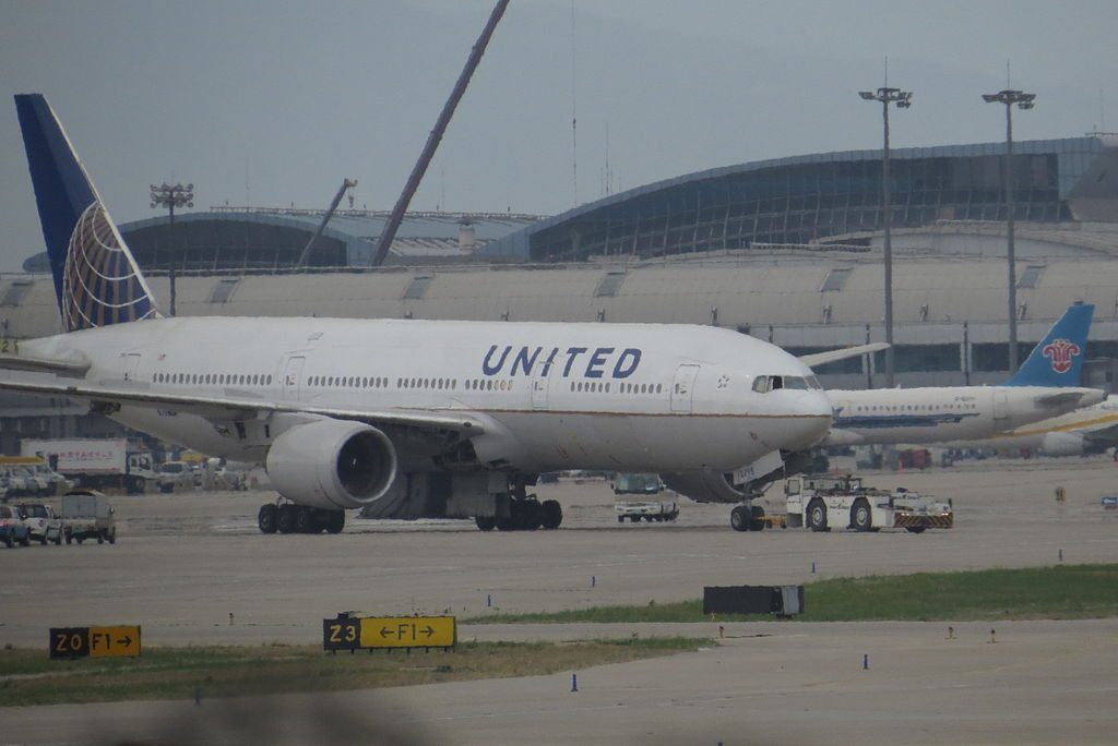 United Airlines Aircraft Fleet N798UA Boeing 777 222ER cnserial number 26928123 finished maintenance at Beijing Capital International Airport IATA PEK ICAO ZBAA
