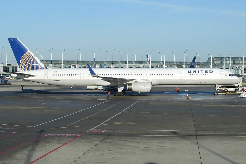 United Airlines Aircraft Fleet ex Continental N57855 Boeing 757 324 cnserial number 328141038 parking at OHare International Airport IATA ORD ICAO KORD FAA LID ORD