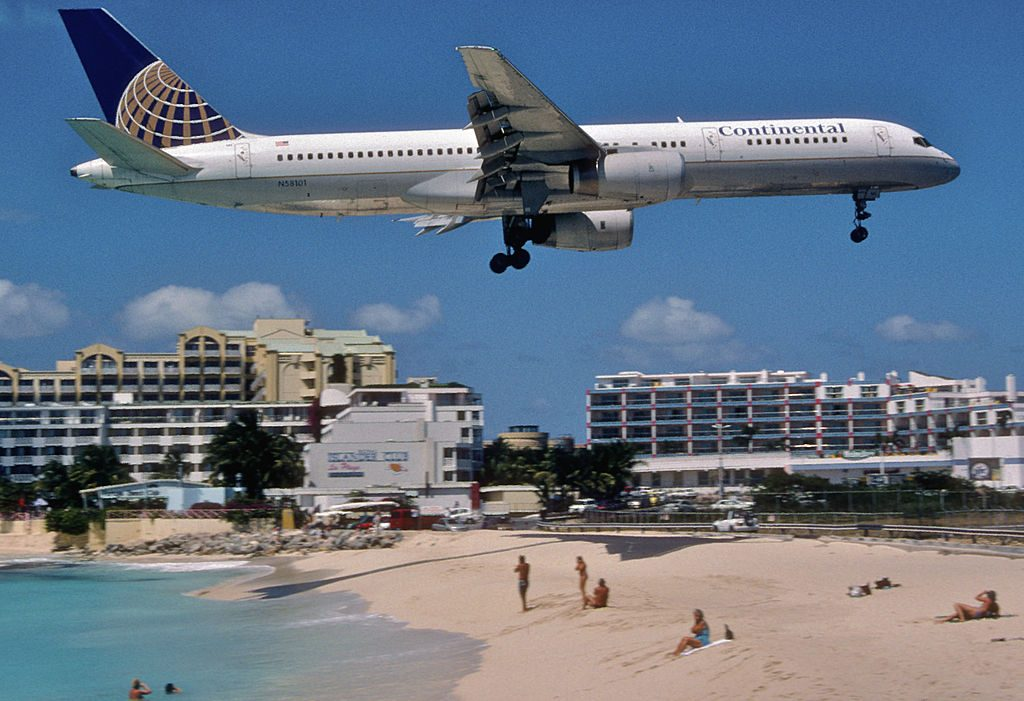 United Airlines Aircraft Fleet (ex-Continental) N58101 Boeing 757-224 cn:serial number- 27291:614 on final approach at Princess Juliana International Airport (IATA- SXM, ICAO- TNCM)