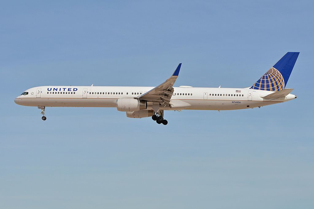 United Airlines Aircraft Fleet ex Continental N74856 Boeing 757 324w cn 32815 ln 1039 arriving on flight UAL1937 from New York Newark at McCarran International Airport Las Vegas NV